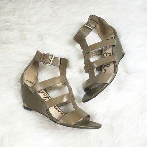 Sam edelman Olive Green wedge gladiator sandals